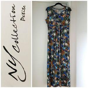 NY collection petite sleeveless maxi w necklace